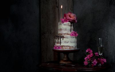 Blog Anniversary! Chiffon cake with carmelized white chocolate and raspberry prosecco buttercream